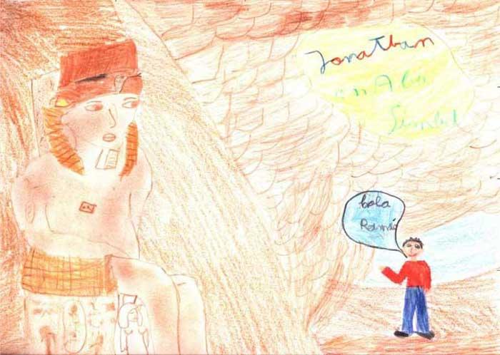 Jonathan en Abu Simbel con Ramsés II