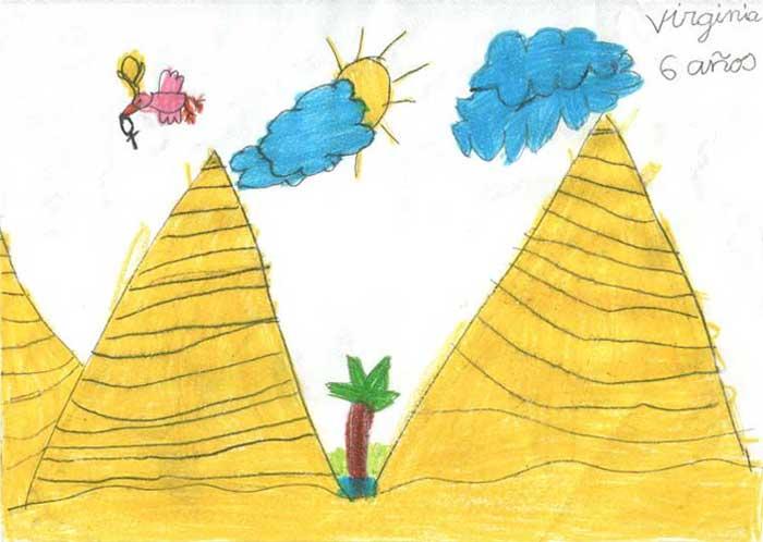 Horus vuela sobre las Pirámides para dejar un anj en la cámara del faraón