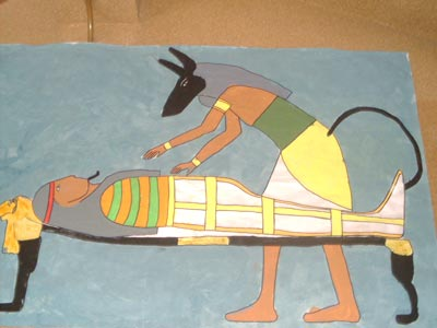 Mural de embalsamamiento: Anubis prepara la momia… ¿de quién será esa momia?