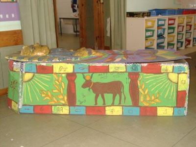 Los alumnos de 4 años C también hicieron un sarcófago