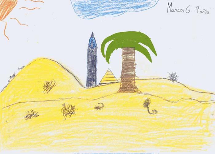 He dibujado un obelisco y una piramide vista desde lejos. Yo soy el niño que lleva dos camellos por la duna, pero estoy muy lejos. Tambien he puesto un escorpion y una serpiente
